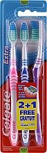 Parfémy, Parfumerie, kosmetika Zubní kartáček, střední, růžový+modrý+fialový - Colgate Extra Clean Medium