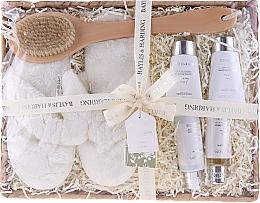 Parfémy, Parfumerie, kosmetika Sada - Baylis & Harding Urban Barn Lime, Basil & Mint Set (h/cr/50ml + sh/cr/100ml + b/cr/50ml + sh/gel/50ml + back/brush/1 + slippers)