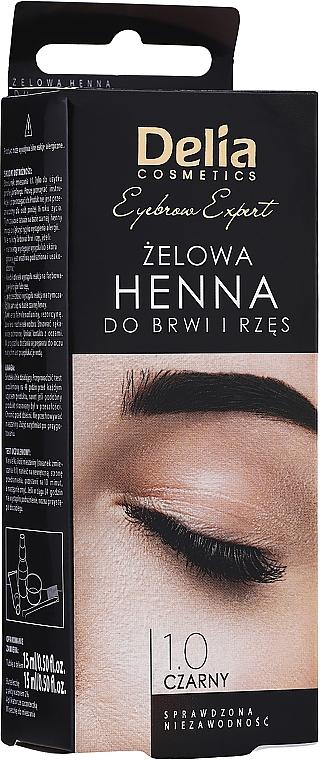 Gelová barva na obočí, černá - Delia Eyebrow Tint Gel ProColor 1.0 Black