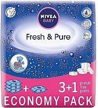"""Parfémy, Parfumerie, kosmetika Dětské vlhčené ubrousky """"Čistota a čerstvost"""" 4x63 szt - Nivea Baby Pure & Fresh"""