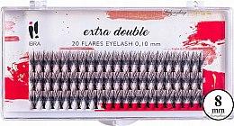 Parfémy, Parfumerie, kosmetika Trsové řasy, C 0.1 mm, 8 mm - Ibra Extra Double 20 Flares Eyelash C 8 mm