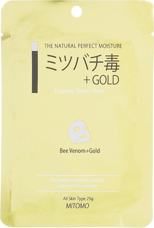 Plátýnková pleťová maska Zlato a včelí jed - Mitomo Essence Sheet Mask Bee Venom + Gold