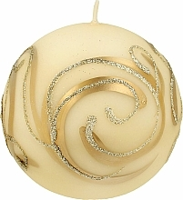 Parfémy, Parfumerie, kosmetika Dekorativní svíčka, koule, krémová s ornamentem, 10 cm - Artman Christmas Ornament