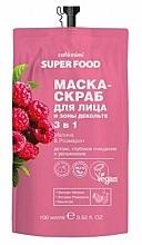 """Parfémy, Parfumerie, kosmetika Maska-peeling na obličej a dekolt 3 v 1 """"Maliny a rozmarýn"""" - Cafe Mimi Super Food"""