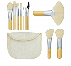 Parfémy, Parfumerie, kosmetika Sada štětců pro make-up Bamboo White, 10 ks + pouzdro - Tools For Beauty