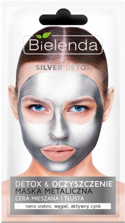 Detoxová maska pro mastnou a kombinovanou pleť - Bielenda Silver Detox Metallic Mask