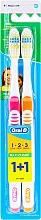 Parfémy, Parfumerie, kosmetika Sada zubních kartáčků (střední, oranžový+růžový) - Oral-B 1 2 3 Maxi Clean 40 Medium 1+1