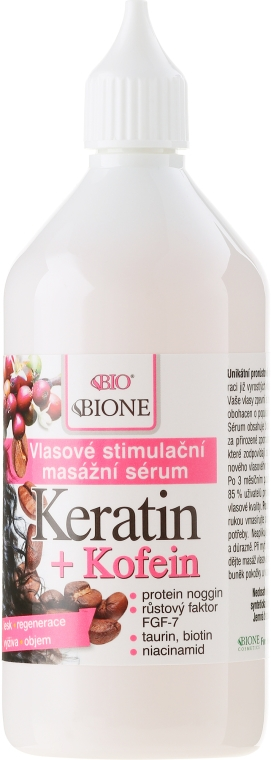 Sérum pro vlasy - Bione Cosmetics Keratin + Caffeine Stimulating Massaging Hair Serum — foto N2