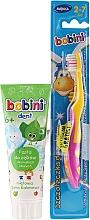 Parfémy, Parfumerie, kosmetika Sada s žluto-růžovým kartáčkem - Bobini (toothbrush + toothpaste/75ml)