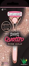 Parfémy, Parfumerie, kosmetika Holicí strojek + 1 náhradní hlavice - Wilkinson Sword Quattro for Women Rose Gold