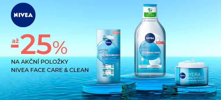 Slevy až -25% na akční položky Nivea Face Care & Clean. Ceny na webu jsou včetně slev