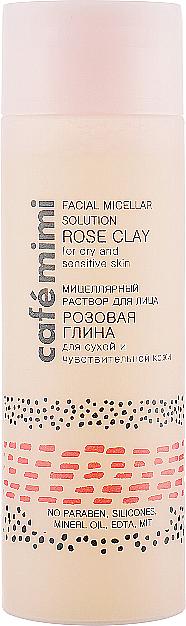 "Micelární roztok pro obličej ""Růžová hlína"" - Cafe Mimi Facial Micellar Solution Rose Clay"