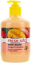 Parfémy, Parfumerie, kosmetika Krémové mýdlo s olejem z kamélie Mango & carambola s dávkovačem - Fresh Juice Mango & Carambol