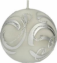 Parfémy, Parfumerie, kosmetika Dekorativní svíčka, koule, šedá s ornamentem, 8 cm - Artman Christmas Ornament