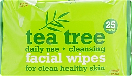 Parfémy, Parfumerie, kosmetika Čistící ubrousky na obličej 2x25szt - Xpel Marketing Ltd Tea Tree Facial Wipes For Clean Healthy Skin