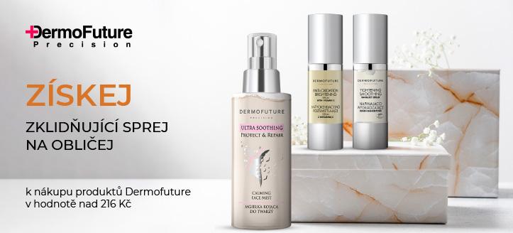 K nákupu produktů Dermofuture v hodnotě nad 216 Kč získej zklidňující sprej na obličej jako dárek