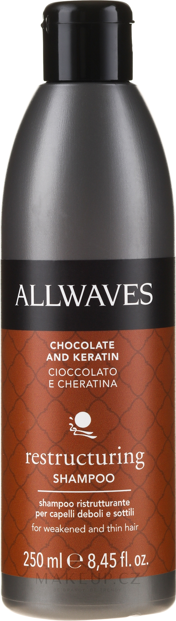 Šampon na vlasy Čokoláda a keratin - Allwaves Chocolate And Ceratine Restructuring Shampoo — foto 250 ml