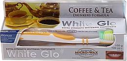Parfémy, Parfumerie, kosmetika Sada Pro milovníky čaje a kávy, žlutý zubní kartáček - White Glo Coffee & Tea Drinkers Formula Whitening Toothpaste (t/paste/100ml + t/brush)
