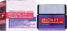 Parfémy, Parfumerie, kosmetika Noční krém-péče proti stárnutí - L'Oreal Paris Revitalift Filler Hyaluronic Acid Night Cream