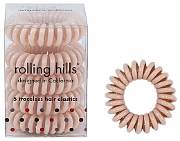 Parfémy, Parfumerie, kosmetika Gumička-náramek do vlasů, béžová - Rolling Hills 5 Traceless Hair Rings Beige