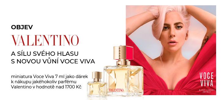 Získej miniaturu Voce Viva jako dárek k nákupu jakéhokoliv parfému Valentino v hodnotě nad 1700 Kč