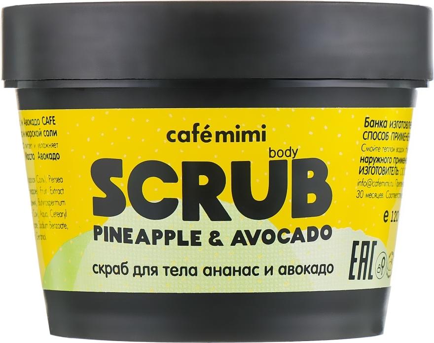 Peeling na tělo Ananas a avokádo - Cafe Mimi Body Scrub Pine Apple & Avocado