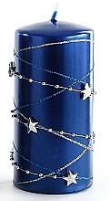 Parfémy, Parfumerie, kosmetika Dekorativní svíčka, tmavě modrá, 7x10 cm - Artman Christmas Garland