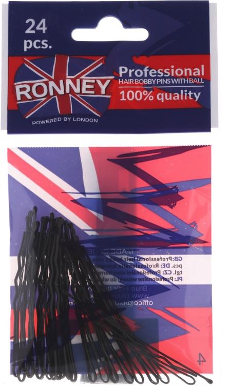 Neviditelné sponky do vlasů, černé 60 mm, 24 ks. - Ronney Black Hair Bobby Pins