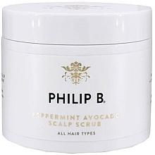 Parfémy, Parfumerie, kosmetika Peeling na pokožku hlavy s mátou a avokádem - Philip B Peppermint Avocado Scalp Scrub