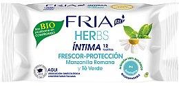 Parfémy, Parfumerie, kosmetika Osvěžující ubrousky pro intimní hygienu Římský heřmánek a zelený čaj - Fria Herbs Intimate Hygiene Wipes