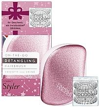 Parfémy, Parfumerie, kosmetika Sada - Tangle Teezer Compact Styler Let It Snow Set (brush/1szt + hair/tie/3szt)