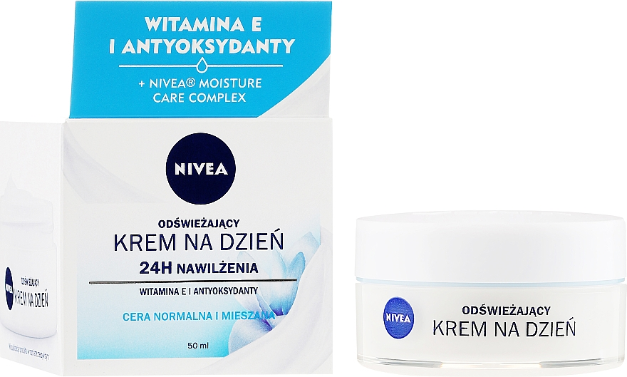 Osvěžující krém na obličej s vitaminem E - Nivea 24H Moisture Care Complex — foto N1