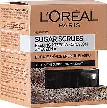 Parfémy, Parfumerie, kosmetika Cukrový peeling na obličej 3 cukry + kávová zrna - L'Oreal Paris Pure-Sugar Resurface & Energize Kona Coffee Scrub