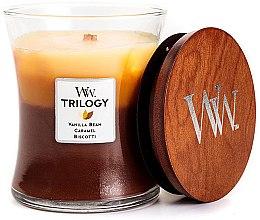 Parfémy, Parfumerie, kosmetika Vonná svíčka ve sklenici - Woodwick Cafe Sweets Trilogy Vanilla Bean Caramel