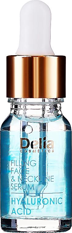 Intenzivní sérum proti vráskám na obličej a krk s kyselinou hyaluronovo - Delia Face Care Hyaluronic Acid Face Neckline Intensive Serum