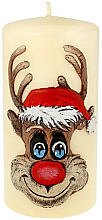 Parfémy, Parfumerie, kosmetika Dekorativní svíčka Rudolf, krémová, 7x10 cm - Artman Christmas Candle Rudolf
