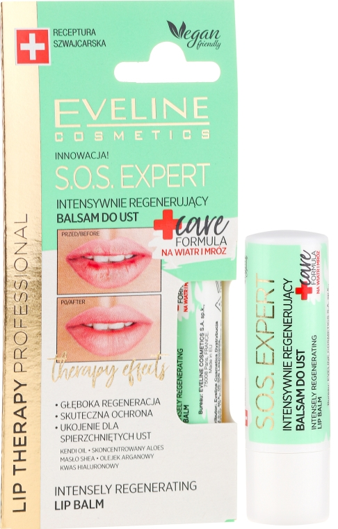 Balzám na rty - Eveline Cosmetics Lip Therapy Sos Expert Care Formula Intensely Regenerating Lip Balm