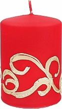 Parfémy, Parfumerie, kosmetika Dekorativní svíčka, červená s ornamentem, 7x14 cm - Artman Christmas Ornament